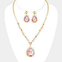 Crystal Teardrop Rhinestone Pave Necklace
