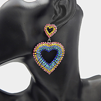 Crystal Pave Colorful Heart Dangle Earrings