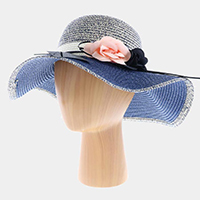 Straw Floppy Hat With Flowers