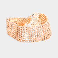 8 Rows Pave CZ Tennis Evening Bracelet