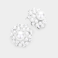 Crystal Round Pearl Bubble Evening Earrings