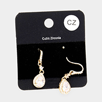 Cubic Zirconia Teardrop Dangle Earrings
