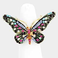 Crystal Pave Butterfly Stretch Ring
