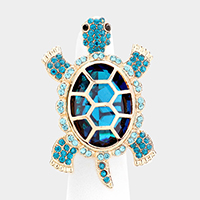 Crystal Rhinestone Pave Turtle Stretch Ring