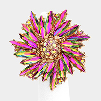 Crystal Marquise Cluster Floral Stretch Ring