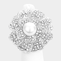Crystal Pave Pearl Flower Stretch Ring