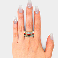 Color Block Crystal Pave Stretch Ring
