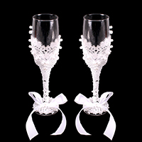 2PCS - LACE CLASSY WEDDING WINE GLASSES