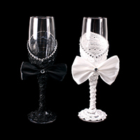 2PCS - BRIDE GROOM WEDDING WINE GLASSES