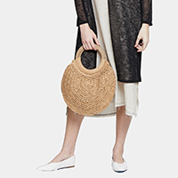 Round Straw Tote Bag With Wooden Handle