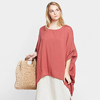Solid Ruffled Sleeve Poncho