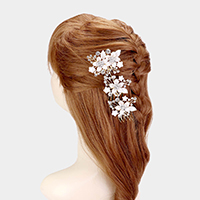 Floral Crystal Embellished Hair Comb