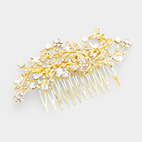 Crystal Rhinestone Flower Leaf Vine Hair Comb