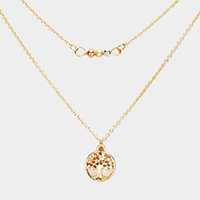 Tree of Life Accented Double Layered Necklace