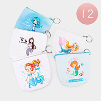 12PCS - Mertmaid Sea Life Keychain Coin Purses
