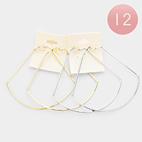 12Pairs - Oversized Flat Metal Geometric Hoop Earrings