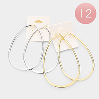 12Pairs - Oversized Flat Metal Geometric Earrings