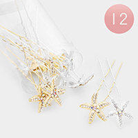 12PCS - Crystal Paved Starfish Hair Comb Pins