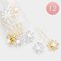 12PCS - Crystal Paved Pearl Floral Hair Comb Pins