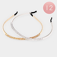 12PCS - Crystal Pearl Headbands