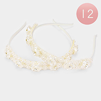 12PCS - Crystal Round Pearl Floral Lacy Headbands