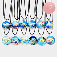 12PCS - Turtle Round Pendant Cord Necklaces