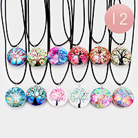 12PCS - Tree of Life Round Pendant Cord Necklaces