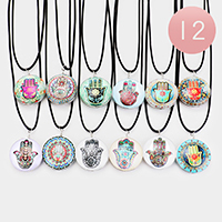 12PCS - Hamsa Evil Eye Round Pendant Cord Necklaces