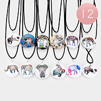 12PCS - Elephant Round Pendant Cord Necklaces