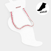 3Rows Rhinestone Evening Anklet