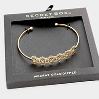Secret Box _ 14K Gold Dipped Filigree Cuff Bracelet