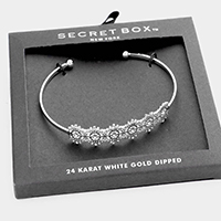 Secret Box _ 24K White Gold Dipped Filigree Cuff Bracelet