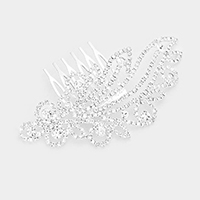 Crystal Round Rhinestone Pave Hair Comb