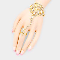 Crystal Teardrop Rhinestone Evening Hand Chain Bracelet