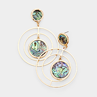 Round Abalone Accented Geometric Dangle Earrings