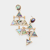 Abalone Geo Round Triangle  Drop Earrings