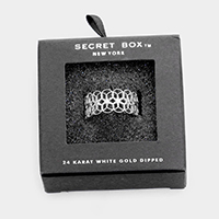 Secret Box _ 24K White Gold Dipped Filigree Open Ring