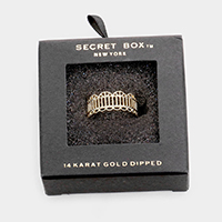 Secret Box _ 14K Gold Dipped Filigree Open Ring