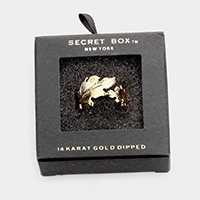 Secret Box _ 14K Gold Dipped Leaf Open Ring
