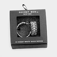 Secret Box _ 24K White Gold Dipped Filigree Earrings