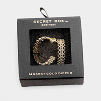 Secret Box _ 14K Gold Dipped Filigree Half Hoop Earrings
