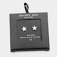 Secret Box _ 24K White Gold Dipped CZ Star Stud Earrings
