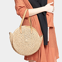 Textured Round Straw Bag With Strap