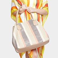 Striped Woven Duffel Bag