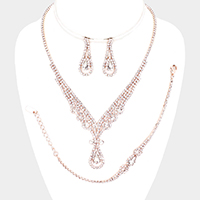 3PCS - Rhinestone Pave Teardrop Crystal Evening Necklace Set