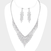 Crystal Pave V Shaped Rhinestone Necklace