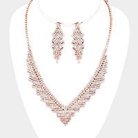 Curved Pave Crystal Rhinestone V Necklace