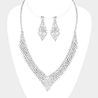 Pave Crystal Rhinestone Bubble V Necklace