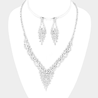 Crystal Round Rhinestone Pave V Necklace