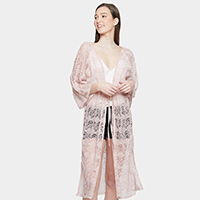 Solid Laced Long Kimono Cardigan